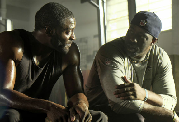 Aldis-Hodge-Brian-Banks-on-set-Bleecker-Street